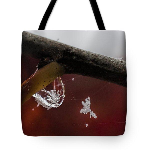 Snow Crystal In Water Drop Tote Bag by Dan Friend