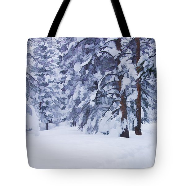 Snow-dappled Woods Tote Bag by Don Schwartz