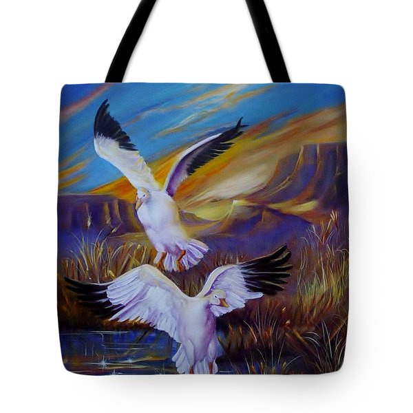 Snow Geese Tote Bag by Sherry Strong