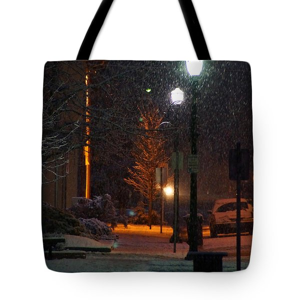 Snow In Downtown Grants Pass - 5th Street Tote Bag by Mick Anderson