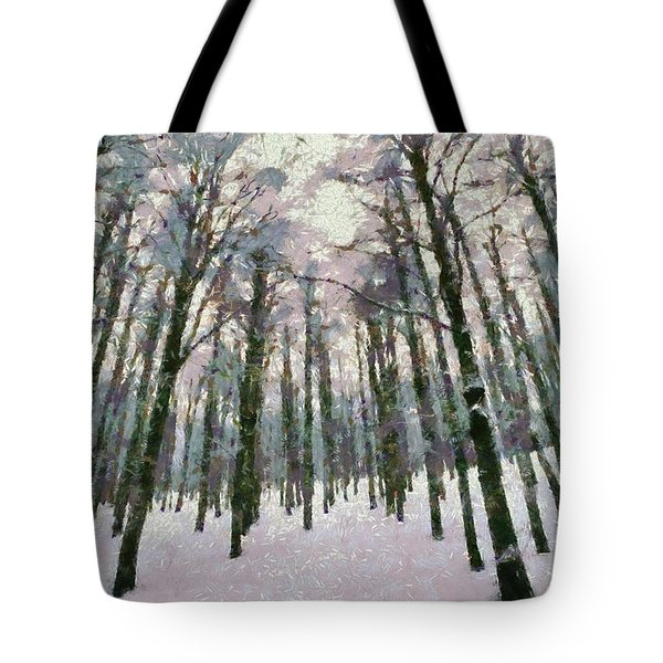 Snow In The Forest Tote Bag by George Atsametakis