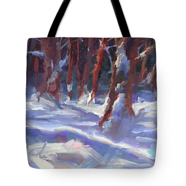 Snow Laden - Winter Snow Covered Trees Tote Bag by Talya Johnson