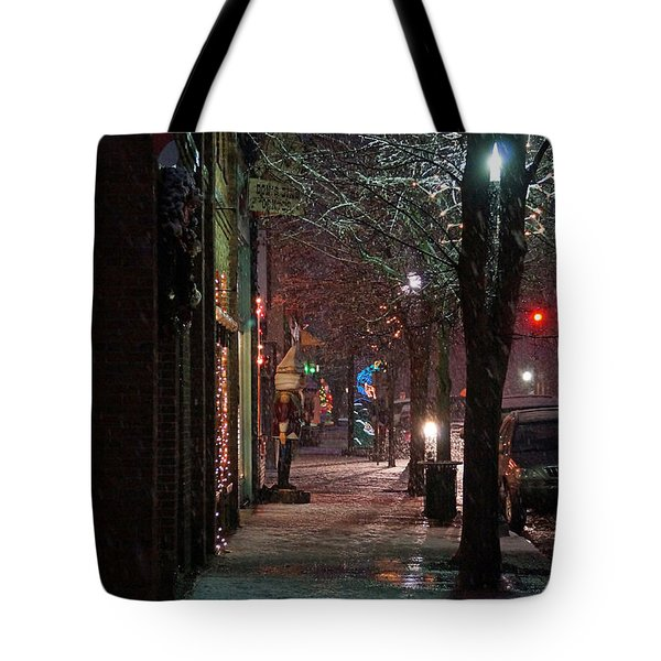 Snow On G Street 2 - Old Town Grants Pass Tote Bag by Mick Anderson