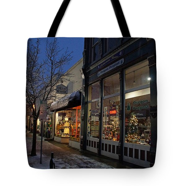 Snow On G Street - Old Town Grants Pass Tote Bag by Mick Anderson