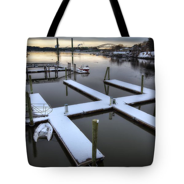 Snow On The Docks Tote Bag by Eric Gendron