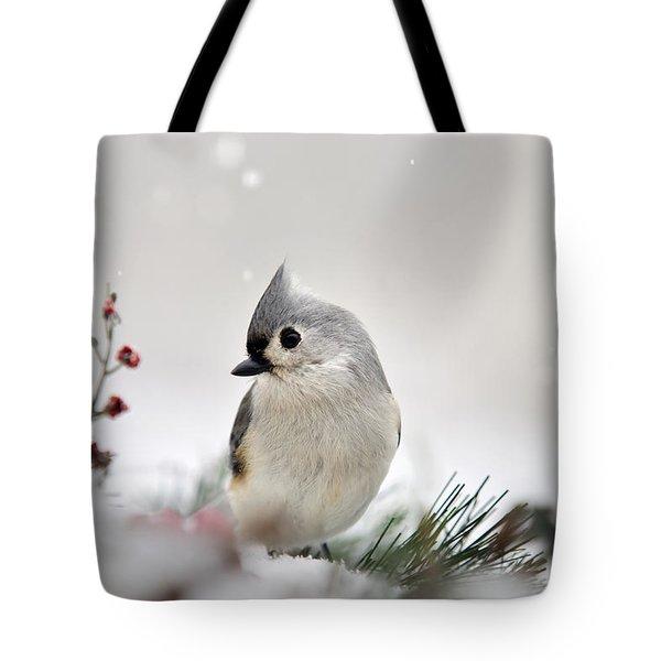 Snow White Tufted Titmouse Tote Bag by Christina Rollo