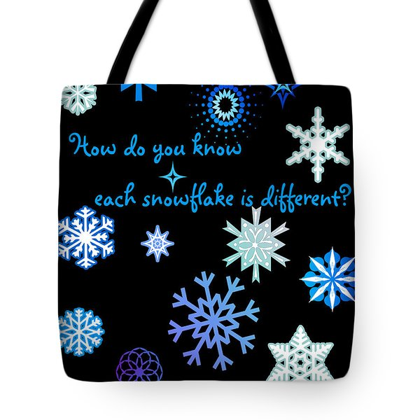 Snowflakes 2 Tote Bag by Methune Hively
