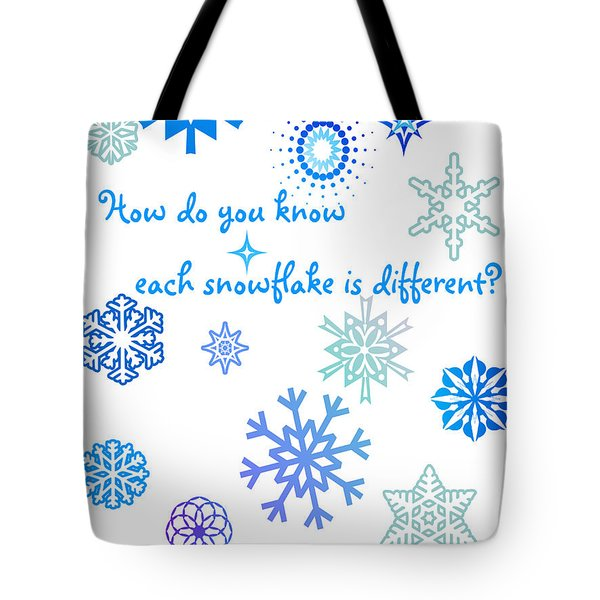 Snowflakes Tote Bag by Methune Hively