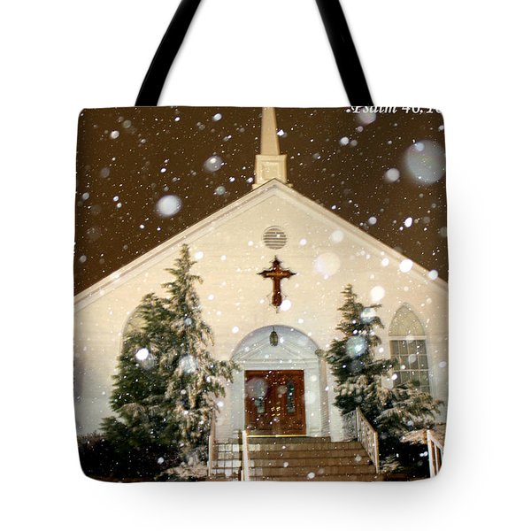 Snowing At The Chapel Tote Bag by Kathy  White