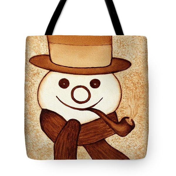 Snowman with pipe and topper original coffee painting Tote Bag by Georgeta  Blanaru