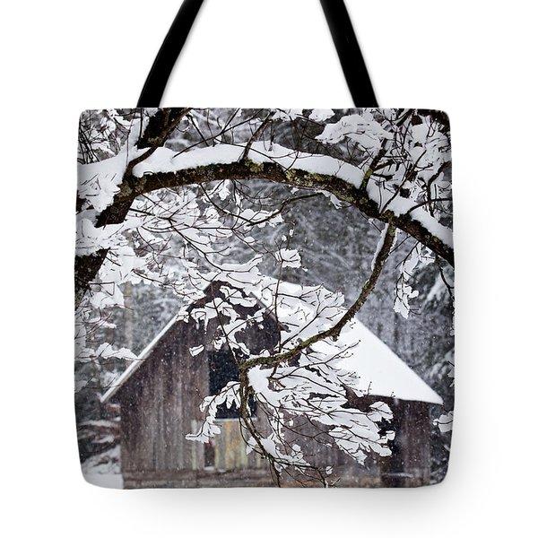 Snowy Barn 2 Tote Bag by Rob Travis