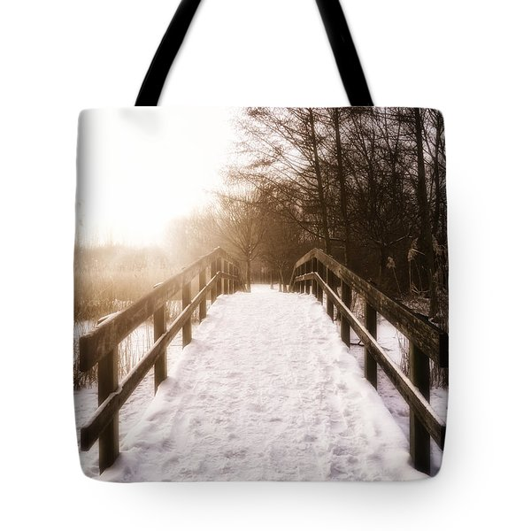 Snowy Bridge Tote Bag by Wim Lanclus