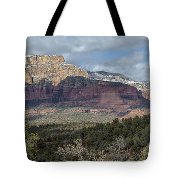 Snowy Day In Sedona Tote Bag by Sandra Bronstein