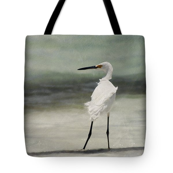 Snowy Egret Tote Bag by John Edwards