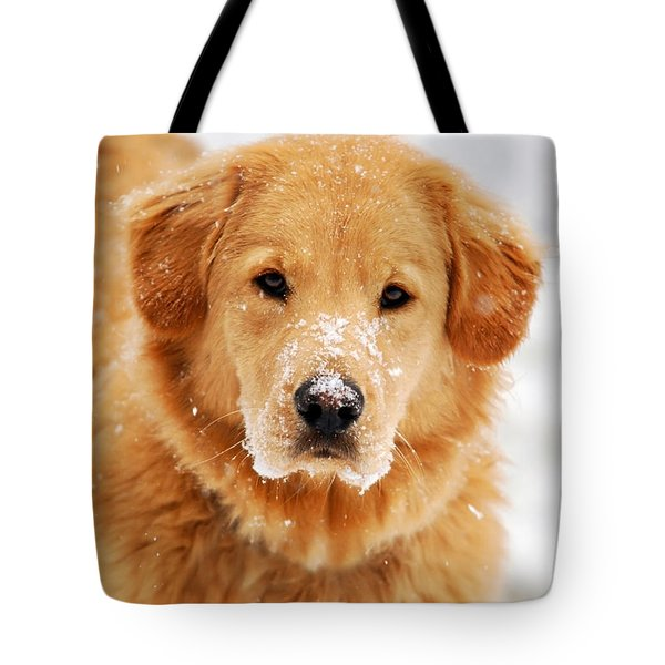 Snowy Golden Retriever Tote Bag by Christina Rollo
