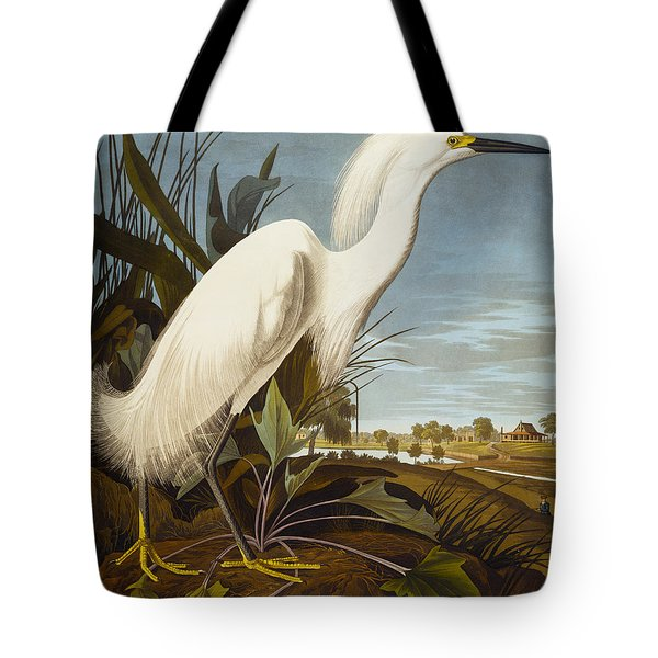 Snowy Heron Or White Egret Tote Bag by John James Audubon