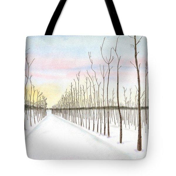 Snowy Lane Tote Bag by Arlene Crafton