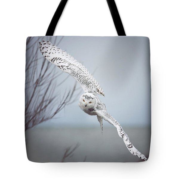 Snowy Owl In Flight Tote Bag by Carrie Ann Grippo-Pike