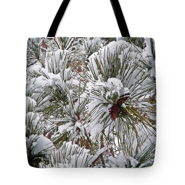 Snowy Pine Needles Tote Bag by Aimee L Maher Photography and Art Visit ALMGallerydotcom