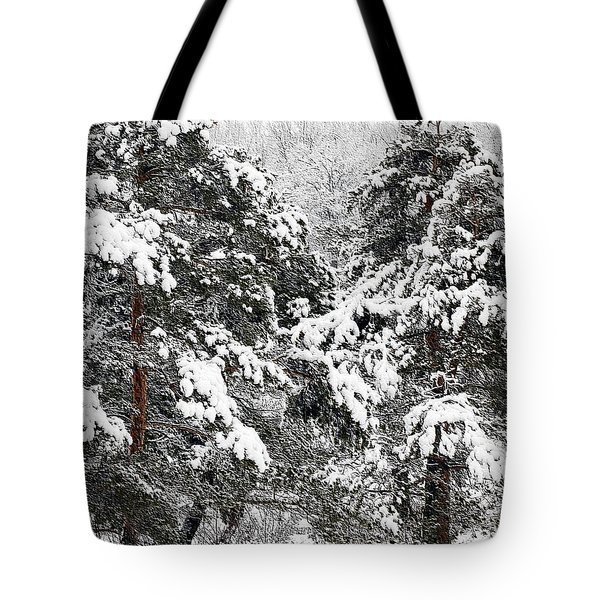 Snowy Pines Tote Bag by Kathleen Struckle