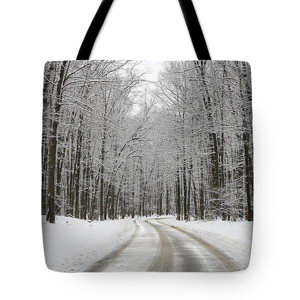 Snowy Road In Oak Openings 7058 Tote Bag by Jack Schultz