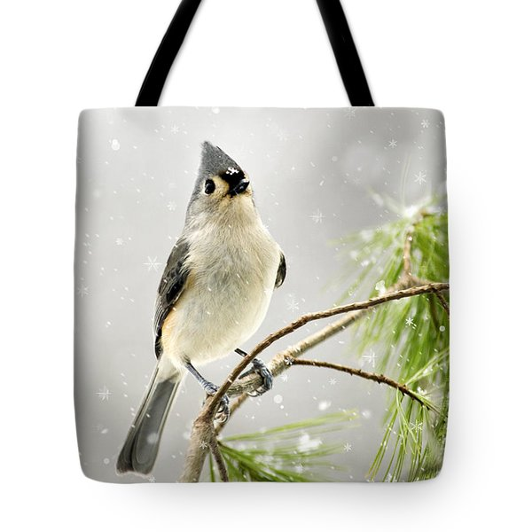 Snowy Songbird Tote Bag by Christina Rollo