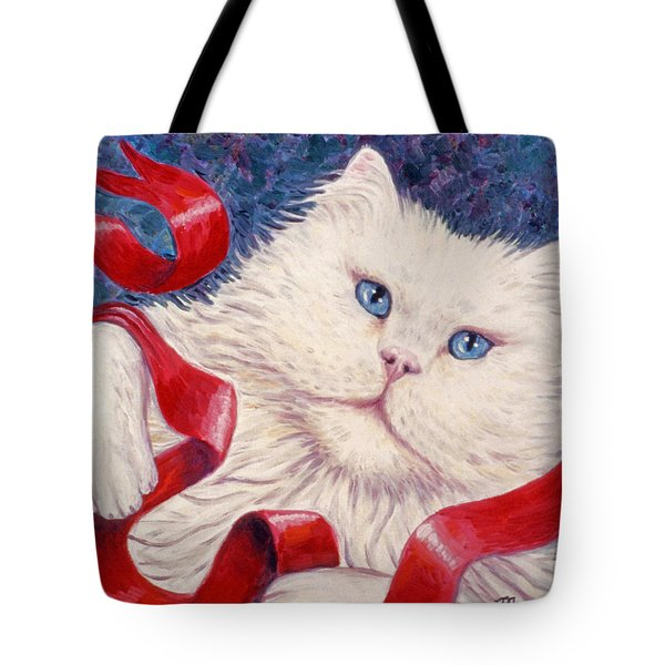 Snowy The Cat Tote Bag by Linda Mears