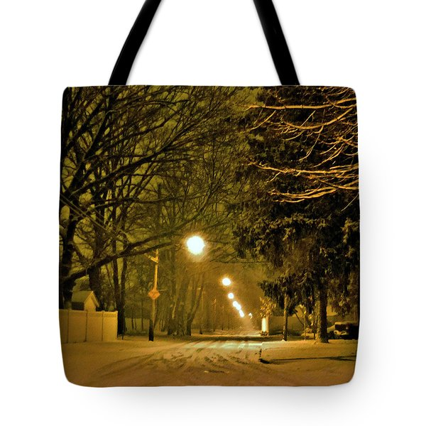 Snowy Winter Night Tote Bag by Mikki Cucuzzo