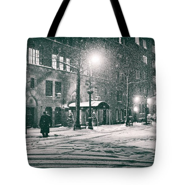 Snowy Winter Night - Sutton Place - New York City Tote Bag by Vivienne Gucwa