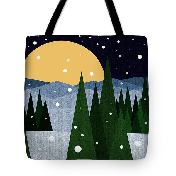 Snowy Winter Night Tote Bag by Val Arie