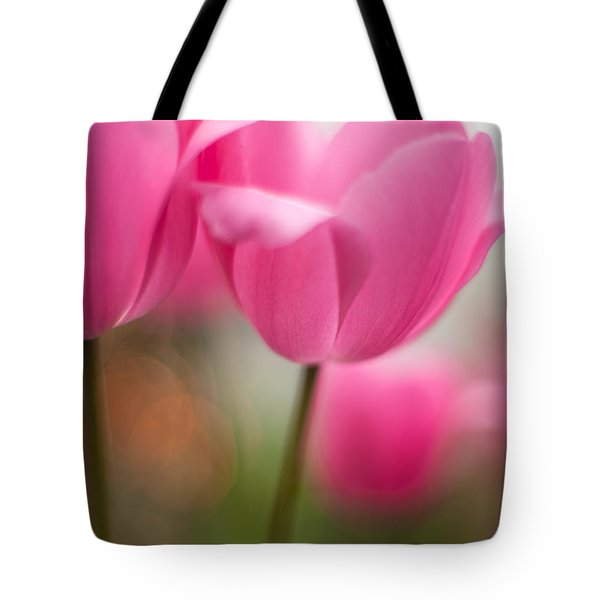 Soaring Pink Tulips Tote Bag by Mike Reid