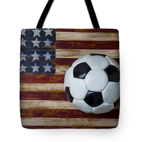 Soccer Ball And Stars And Stripes Tote Bag by Garry Gay
