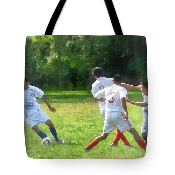 Soccer Ball In Play Tote Bag by Susan Savad