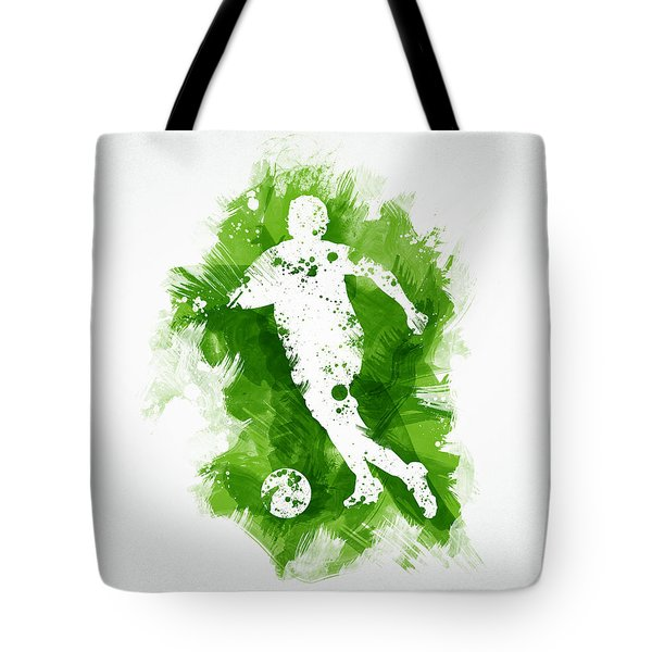 Soccer Player Tote Bag by Aged Pixel