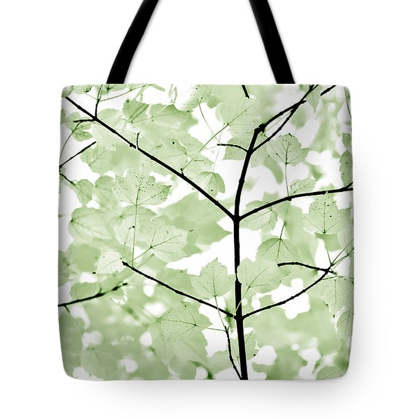 Soft Forest Green Leaves Melody Tote Bag by Jennie Marie Schell
