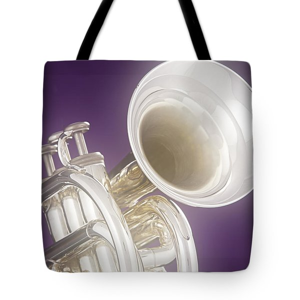 Soft Trumpet On Purple Tote Bag by M K  Miller