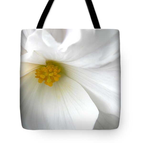 Softness of a White Begonia Flower Tote Bag by Jennie Marie Schell