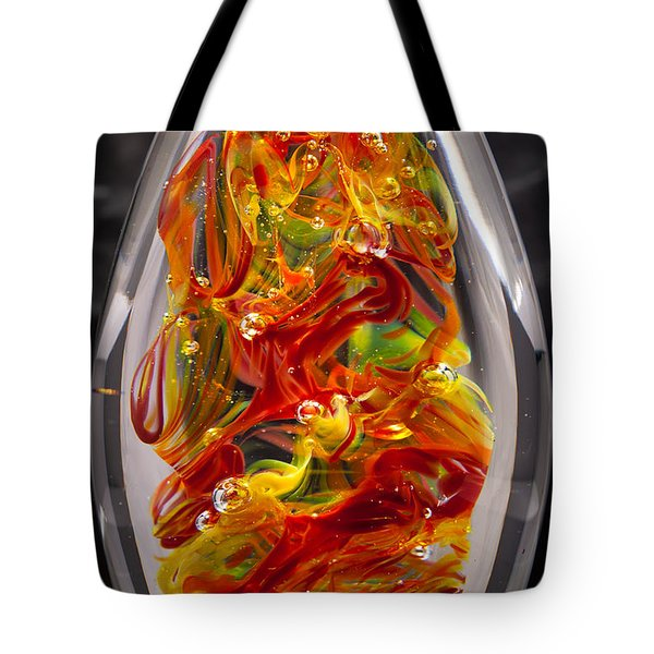 Solid Glass Sculpture - 13e8 - Extreme Flames Tote Bag by David Patterson