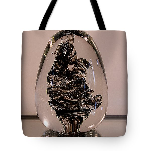 Solid Glass Sculpture - Be2 - Black And White Tote Bag by David Patterson