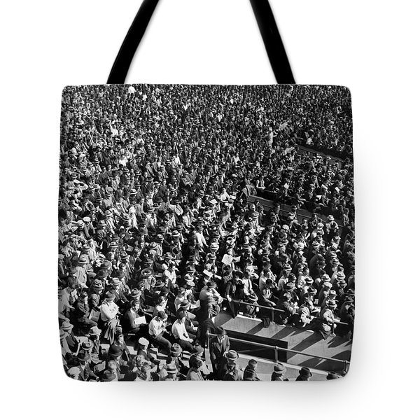 Baseball Fans At Yankee Stadium In New York   Tote Bag by Underwood Archives