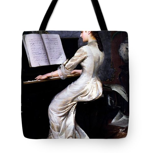 Song Without Words, Piano Player, 1880 Tote Bag by George Hamilton Barrable
