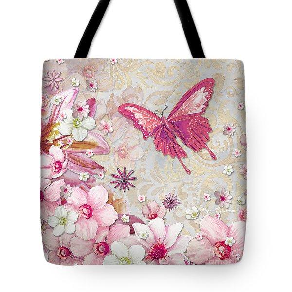 Sophisticated Elegant Whimsical Pink Butterfly Floral Flower Art Springs Joy by Megan Duncanson Tote Bag by Megan Duncanson
