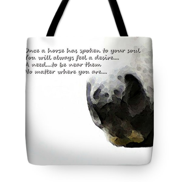 Soul Touch - Emotive Horse Art By Sharon Cummings Tote Bag by Sharon Cummings