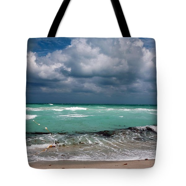 South Beach Storm Clouds Tote Bag by John Rizzuto