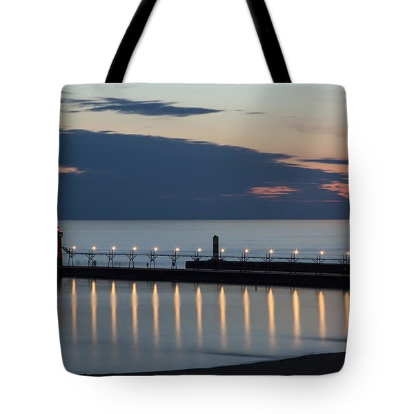 South Haven Michigan Lighthouse Tote Bag by Adam Romanowicz