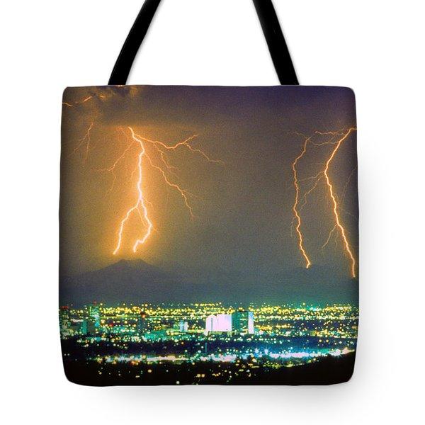 South Mountain Lightning Strike Phoenix Az Tote Bag by James BO  Insogna