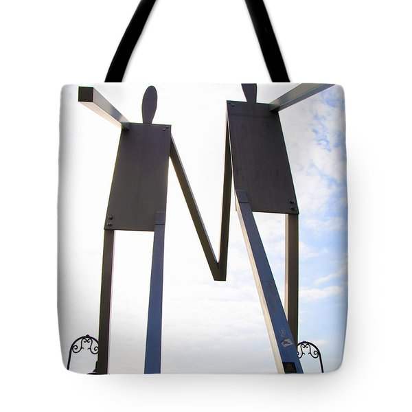 South Street Stick Men Statue Tote Bag by Bill Cannon