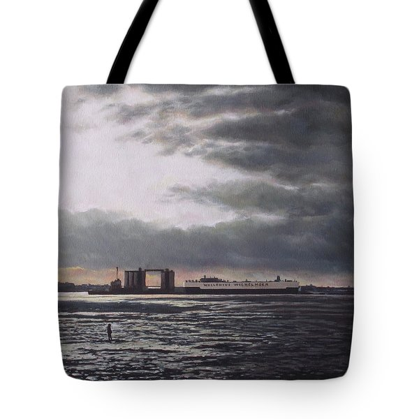 Southampton Docks From Weston Shore Winter Sunset Tote Bag by Martin Davey