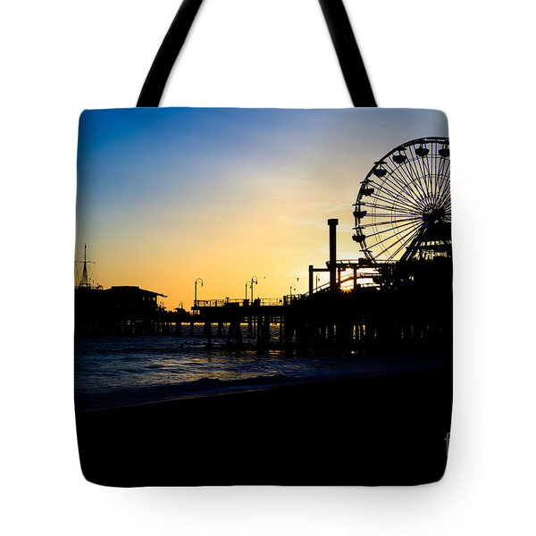 Southern California Santa Monica Pier Sunset Tote Bag by Paul Velgos