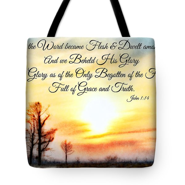 Southern Sunset - Digital Paint II With Verse Tote Bag by Debbie Portwood